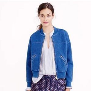 J Crew Quilted Indigo Bomber Jacket Size Small